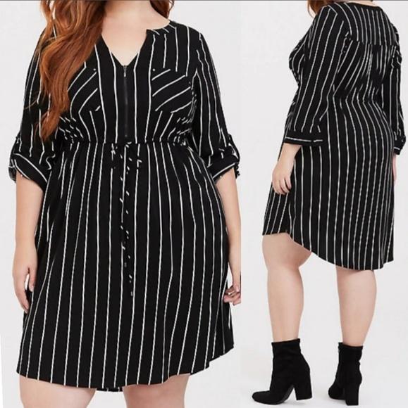 torrid Dresses & Skirts - TORRID Black Stripe Challis Shirt Dress
